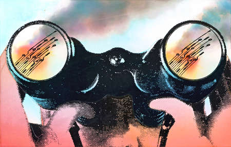 Man viewing circuit board images through binoculars