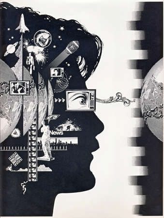 Silhouette of woman's head covered in information symbols with television for eye