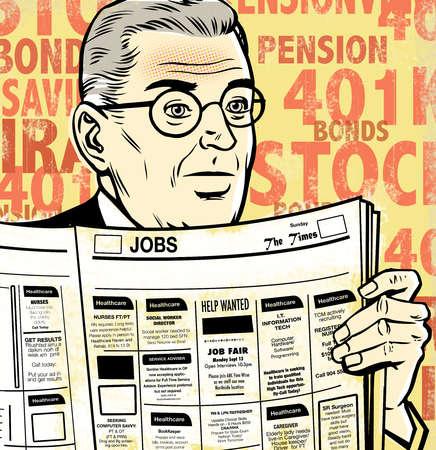 Mature businessman looking through job ads in newspaper