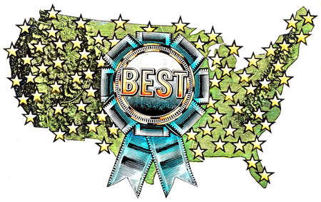 Blue ribbon with 'best' text on star covered map of United States