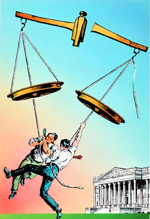 Businessmen tugging at justice scales outside Supreme Court building
