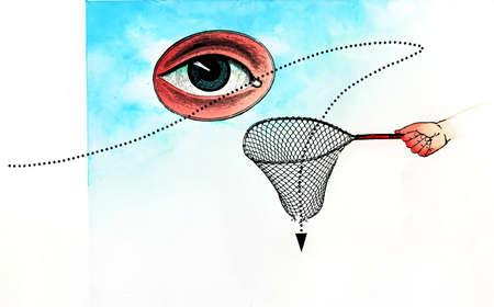 Eye over arrow dropping through net