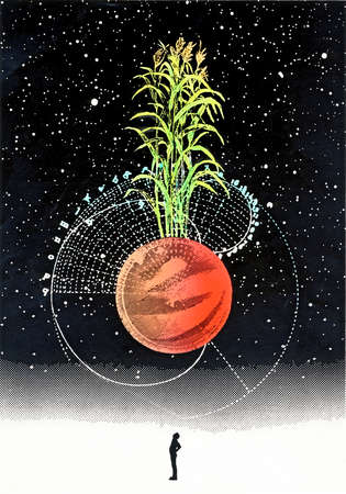 Man standing under corn growing from red orb