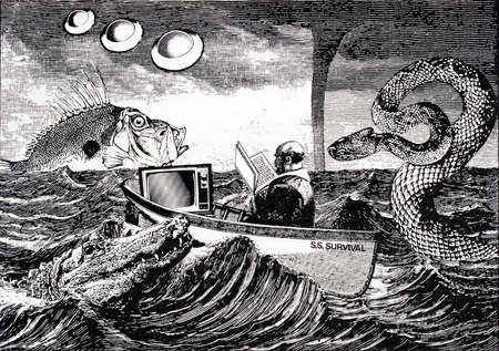 Businessman with book and television in boat surrounded by threatening animals