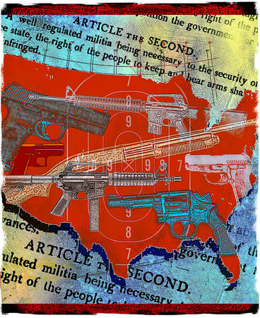 Guns covering map of the United States over Second Amendment to the Constitution