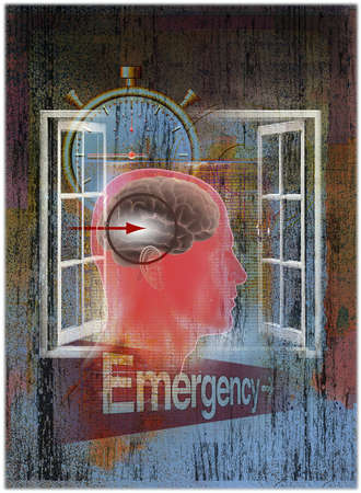 Arrow pointing to brain above 'Emergency' sign