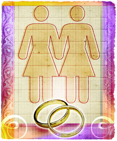 Outline of two women with wedding rings below