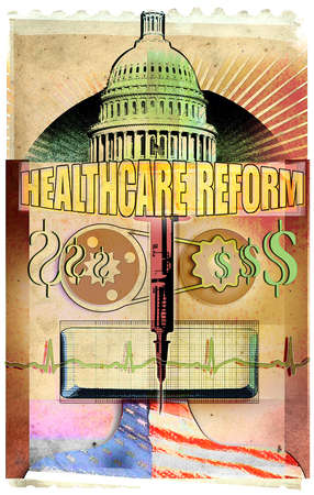 Government and finance images surrounding 'Healthcare Reform' text