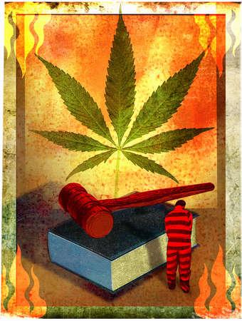 Marijuana leaf above gavel, book and prisoner