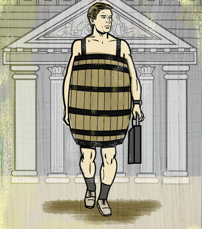 Businessman in barrel walking away from Supreme Court building