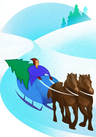 Man and Christmas tree in horse-drawn sleigh