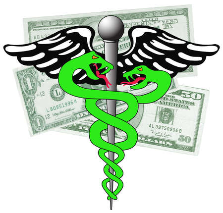 Menacing snakes of caduceus over money