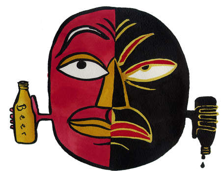 Illustration of face; happy side is holding bottle of beer; grumpy side is pouring out bottle of beer