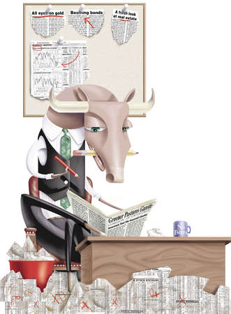 A bull, dressed as a businessman, reading newspaper at desk