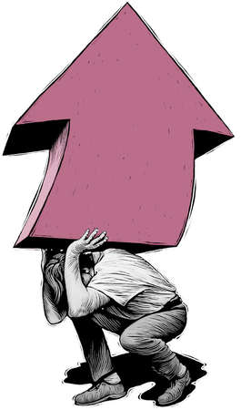 Man straining to lift huge upward-pointing arrow on his back