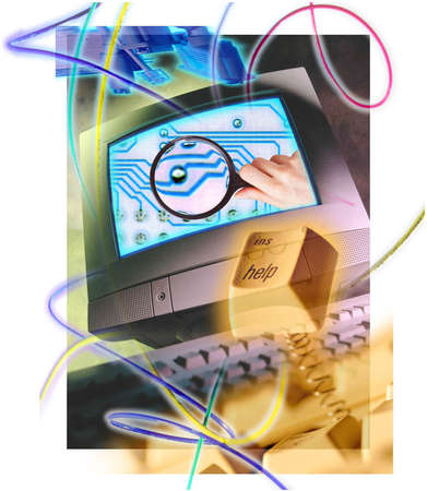 Computer monitor with image of a hand holding a magnifying glass over computer chip