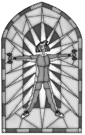 Woman lifting weights in front of a stained glass window