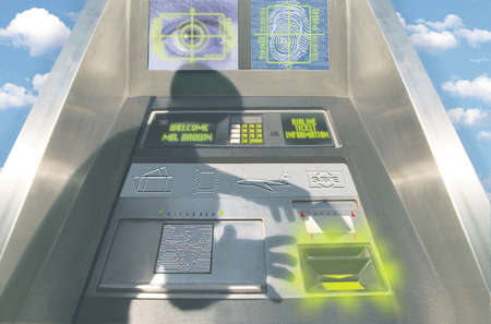 Futuristic automatic teller machine with retina scan, fingerprinting and airline ticket information