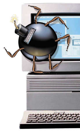 Computer being crawled on by a time bomb that looks like an insect