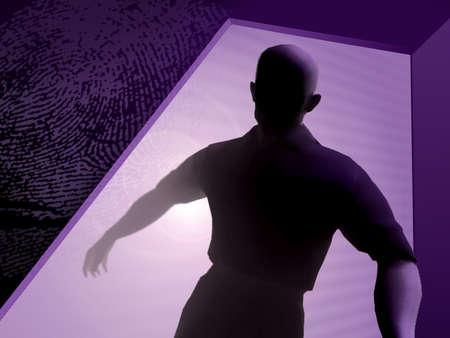 Burglar coming through a door