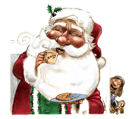 Santa Claus eating a cookie and drinking hot cocoa with a little girl and her dog watching
