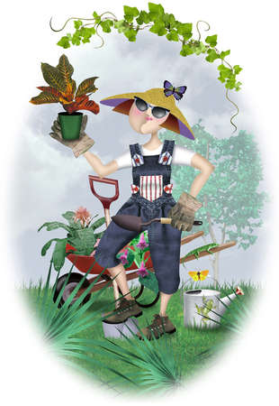 Lady gardener in overalls, hat, sunglasses and gloves with shovel in one hand and potted plant in other