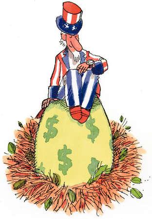 Uncle Sam sitting on a nest egg