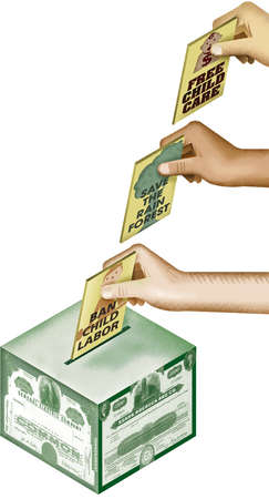Stockholders hands placing proxies into a stock certificate ballot box with ballots that read, 'Free Child Care', 'Save The Rainforest' and 'Ban Child Labor'