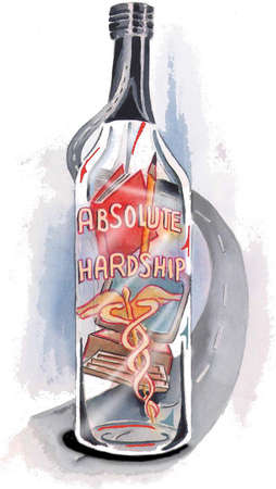 Vodka bottle with words 'Absolute Hardship'