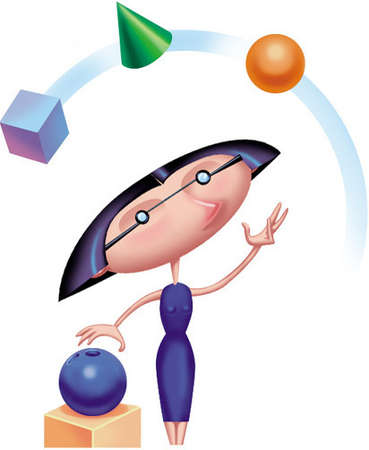 Woman juggling three differently shaped objects in the air and preparing to add a bowling ball to the group