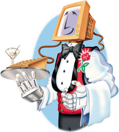 Smiling robot waiter with a computer monitor head and machine hands dressed in tuxedo shirt with rose boutonniere, presenting a tray with a keyboard and martini