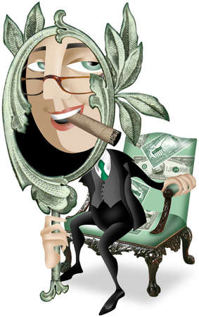 Wealthy executive with cigar in teeth looking through a green money mirror sits on a green money-decorated chair