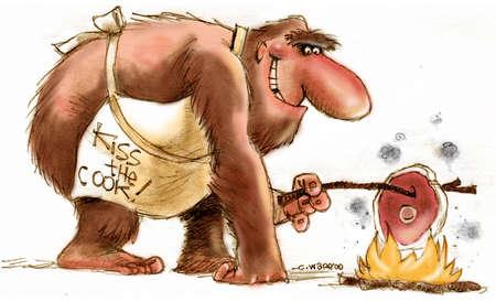 Caveman wearing an 'Kiss the Cook!' apron