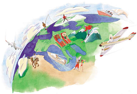 Vacationers on a globe, fishing, sunning, skiing and horseback riding
