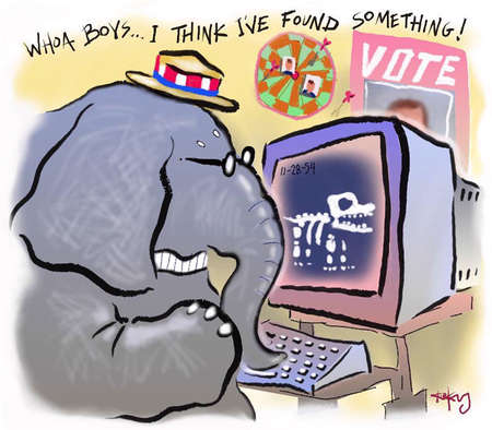 GOP elephant doing a computer search on campaign topics