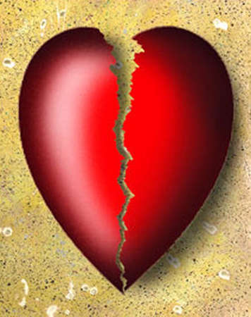 Heart with crack through it