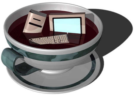 Computer monitor, hard drive and keyboard floating in a cup of coffee