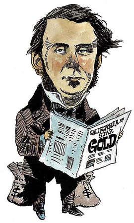 Illustration of Sam Brannan, California newspaper owner who confirmed 1848 gold rush find