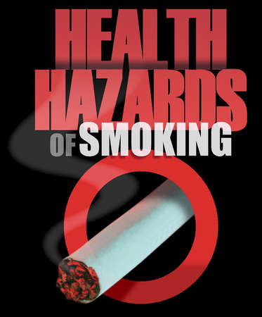 Cigarette with headline 'Health Hazards of Smoking'