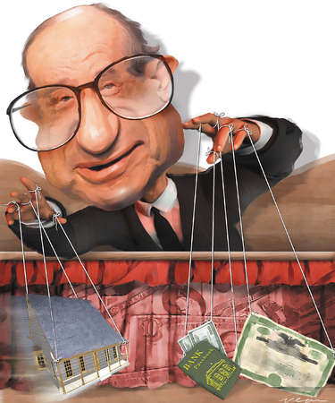 Illustration of Alan Greenspan as a puppeteer of housing, bank notes and stock certificates