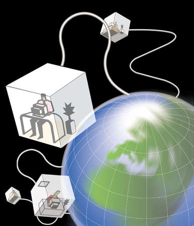 Individual office cubes, with worker at computer in each, floating in space above planet earth and attached by cables