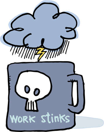 Coffee mug labeled work stinks with a dark stormy cloud above