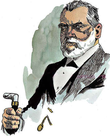Illustration of Leland Stanford, who came to California for gold rush, made his money as a merchant