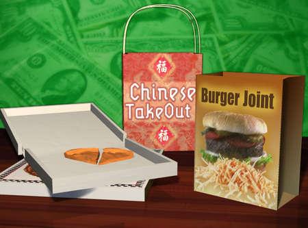 Chinese, pizza and hamburger