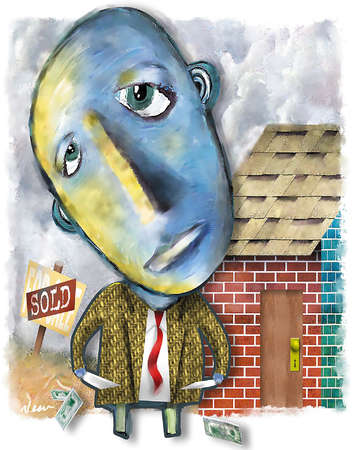 Blue-faced man looking up with sad eyes as he displays his empty coat pockets in front of a brick house with a 'For Sale' and 'Sold' signs