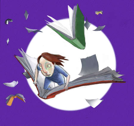 Child flying on a book as other books fly around with full moon in background