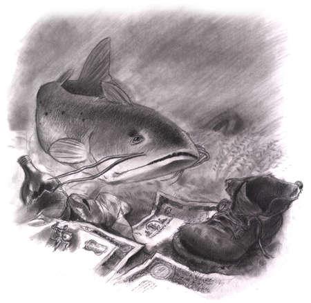 Catfish swimming next to old shoe, bottle and trash