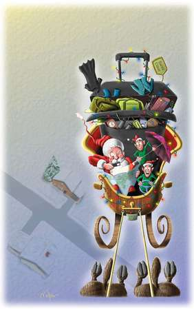 Santa Claus and elves navigating a sleigh full of Christmas gifts for the frequent traveller