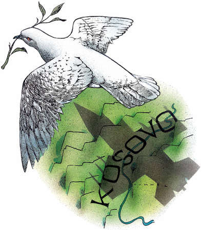 Dove with olive branch, flying over a mountainous plain with the word 'KOSOVO' written across it