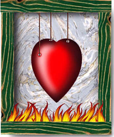 Heart suspended over flames